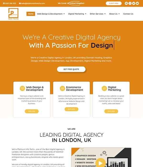 Platinum Info Techs Front page - WP BigBang